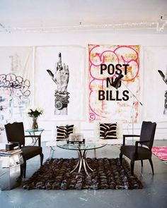 graffiti apartment with tribal influences and post no bills art