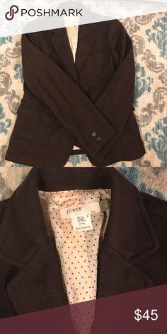 Jcrew wool blend blazer Brown blazer. With polka dot lining J. Crew Jackets & Coats Blazers