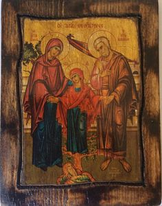 "* Saint Anne & Saint Joachim *  Orthodox Byzantine icon on wood handmade.  Size.: 8.8"" inches x 6.6"" inches or (22.5 cm x 17 cm)"