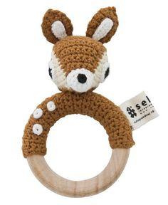 Sebra Crochet Deer Rattle On Wooden Ring   Kidsen.co.uk