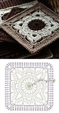 Transcendent Crochet a Solid Granny Square Ideas. Inconceivable Crochet a Solid Granny Square Ideas. Crochet Motifs, Granny Square Crochet Pattern, Crochet Blocks, Crochet Diagram, Crochet Stitches Patterns, Crochet Chart, Crochet Squares, Afghan Patterns, Crochet Ideas