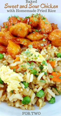 Baked Sweet and Sour Chicken with Homemade Fried Rice for Two - This Baked Sweet and Sour Chicken with Homemade Fried Rice is seriously the best! It's super easy and so delicious. The best part is you can make it at home and skip running for takeout. We love this dish so much we have it a couple of times each month, sometimes more! Serves 2