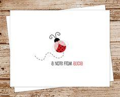 ladybug note cards, notecards - set of 8 - folded personalized stationery, stationary