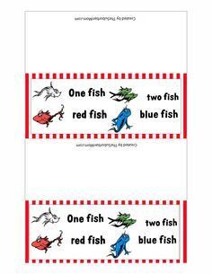 Dr. Seuss Printables   Dr. Seuss One Fish, Two Fish, Red Fish, Blue Fish Free Printable Treat ...
