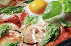 Green Eggs, Ham and Parrano Pizza. Try our green eggs and ham pizza prepared with #Parrano. Perfect for a lazy Sunday breakfast!