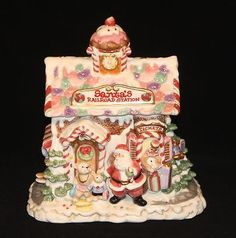 Fitz-Floyd-Santas-Railroad-Station-Gingerbread-House-Cookie-Jar-Candy-Lane