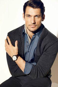 ♂ Masculine and elegance man classy grey sweater David Gandy