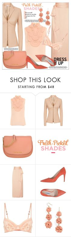 """She's a Peach: Fresh-Picked Shades"" by vittorio-1 ❤ liked on Polyvore featuring Prada, La Perla, Elizabeth and James, BaubleBar, fashionset, peachlipstick and polyvoreset"