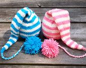 Newborn Twin Boy and Girl Knitted Elf Hats with long tail pom pom for Photography Props $45.00