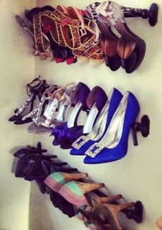 Shoe collection on curtain racks