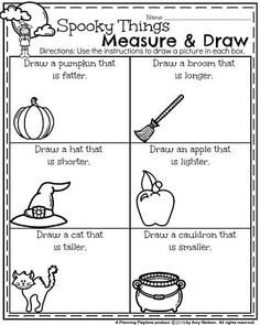 October Kindergarten Worksheets - spooky things measure to draw the new item.