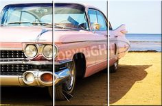 Leinwandbild Pink Car (3-teilig)