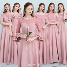 Affordable Candy Pink Bridesmaid Dresses 2019 A-Line / Princess Sash Appliques Flower Floor-Length / Long Ruffle Backless Wedding Party Dresses - Bridesmaid Dresses - Modes New Party Dress, Bridal Party Dresses, Bridal Gowns, Wedding Gowns, Wedding Flowers, Affordable Bridesmaid Dresses, Pink Bridesmaid Dresses, Prom Dresses, Bridesmaids