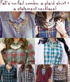 Fall's no-fail combo - a plaid shirt plus a statement necklace.