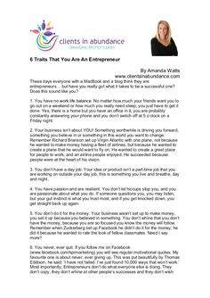 6 Traits That You Are An Entrepreneur by Amanda Watts via slideshare #health #wellness #fitness #marketing
