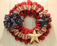 Patriotic Mesh Wreath Tutorial For 4th Of July