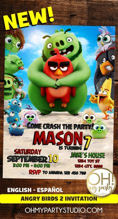 ANGRY BIRDS MOVIE INVITATION,ANGRY BIRDS PARTY IDEAS, ANGRY BIRDS 2 INVITATIONS, ANGRY BIRDS 2 PARTY, ANGRY BIRDS BIRTHDAY INVITATION Bird Birthday Parties, 2nd Birthday Party Themes, 4th Birthday, Birds 2, Angry Birds, Movie Invitation, Balloons And More, Cake Kids, Bird Party