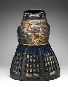 Cuirass (Armor for the Torso and Hips) and Greaves (Lower Leg Defenses) probably late 18th–early 19th century Japanese Iron, silver, gold, copper alloy, leather, wood, textile