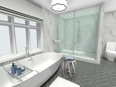 Love the idea of using pattern in a bathroom, but you want something that won't overwhelm the room? Try a herringbone tile pattern on the floor or wall for a subtle and upscale look. For more expert bathroom design tips: http://www.roomsketcher.com/blog/10-must-try-new-bathroom-ideas/ #homeimprovement #homedesign #renovation #remodel #bathroomideas #bathroomdesign #tiles #herringbone #herringbonefloor
