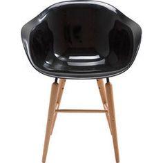 Chaise à. acc Forum noire a./pieds bois