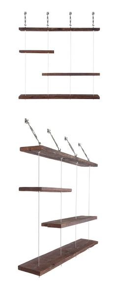 Make a storage statement with these Turnbuckle shelves. Built from 93-year-old reclaimed pine wood, and suspended with stainless steel, nickel plated hardware, these wooden ledges almost look like they...  Find the Turnbuckle Layered Shelves, as seen in the Photographer's Loft Collection at http://dotandbo.com/collections/photographers-loft?utm_source=pinterest&utm_medium=organic&db_sku=DBIIM4T_004L: