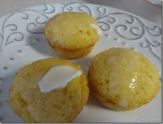 Gluten Free Cornbread mini-muffin with butter - uses Corn meal and GF Bisquick!
