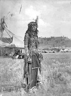 Northern Cheyenne man prepared as a Sundancer - circa 1909 - unknown photographer.