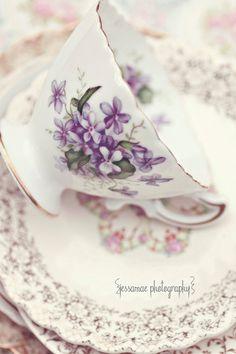Tea Party Picnic - Shabby Chic Violet Tea Cup Photography Print Lavender Cream Shabby Chic Vintage Tea Art - Purple Tea Kitchen Wall Art