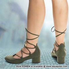 aceca7189ad Edwen GreenNubuck Cushioned Sole Padded Round Toe Lace Up Leg Wrap Pump On  Chunky Low heel