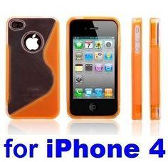 Neewer Orange S-Line Hard TPU Case Cover for iPhone 4G 16GB 32GB