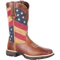 Durango Lady Rebel Flag Boot Women's Brown Boot 10 M ($150) ❤ liked on Polyvore featuring shoes, boots, brown, roll up shoes, slip resistant boots, steel boots, flexible shoes and brown boots