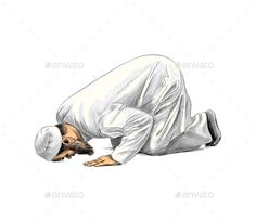 Buy Muslim Man Praying by kapona on GraphicRiver. Vector illustration of paints Islamic Images, Islamic Pictures, Abstract Pencil Drawings, Muslim Pictures, Sarra Art, Man Praying, Hijab Drawing, Islamic Cartoon, Man Sketch