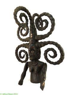 Ekoi / Ejagham Headdress Janus with Skin Curled Hair Africa Exquisite - Cross River & Niger River Delta - African Masks