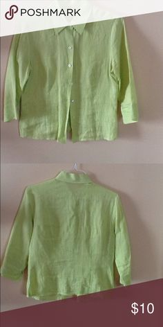 Women's button down Linen Blouse Button down, 3/4 sleeve, Linen Blouse size M. This shirt is used but in really good condition. The tags have been removed so I don't know what brand it is. Tops Button Down Shirts