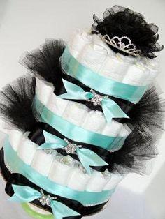Tiffany Diaper Cake - Audrey Hepburn Themed Tiffany Blue Satin, Black Satin Baby Diaper Cake - 3 Tier on Etsy, $100.00 by elinor