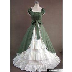Custom Green White Cap Sleeve Southern Belle Wedding Bridal Ball Gown SKU-121012