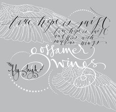 White embossed angel wings with calligraphy overlay