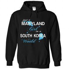 WorldBlue Maryland-South Korea Girl - #baby gift #hostess gift. OBTAIN LOWEST PRICE => https://www.sunfrog.com//WorldBlue-Maryland-South-Korea-Girl-7379-Black-Hoodie.html?68278