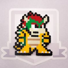 Bowser Perler Bead Sprite || Super Smash Bros. || Gaming, Accessory, Wearable, Gift