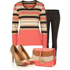 striped sweater and jeans, nice balance to give off warm tones!
