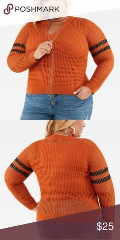 d6f191cb95fc Mesh Striped Baseball Sweater Jacket Mesh Front Zip Burnt Orange with Black  Stripes on Arm 100