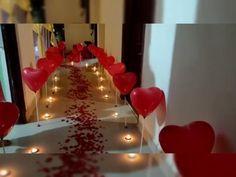 Birthday Party Decorations Diy, Anniversary Decorations, Balloon Decorations Party, Romantic Room Decoration, Romantic Bedroom Decor, Birthday Surprise For Husband, Balloons, Romantic Surprise, Restaurant