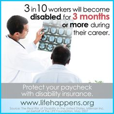 Do I need Disability Insurance?  3 in 10 works will become disabled for 3 months or more during their career.  #PaychecksMatter