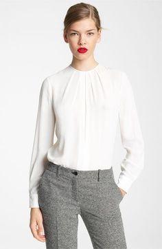 608f4c60d Michael Kors Silk Georgette Blouse Outfit Work, Work Attire, Office Attire,  Office Outfits