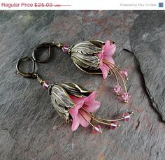 Valentines Day Sale Pink flower earrings, pink tulip earrings, beaded flower earrings, crystal earrings, dangle earrings, Jillian. via Etsy.
