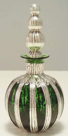 English Sterling Silver and Glass Overlay Perfume Bottle