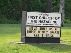 Image detail for -Jesus Built Us A Bridge With 2 Boards And 3 Nails Church Sign Sayings, Funny Church Signs, Church Humor, Funny Signs, Church Quotes, Christian Humor, Christian Life, Christian Quotes, Catholic Quotes