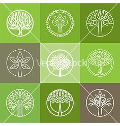 Tree logo set vector. Tree of life by venimo on VectorStock®