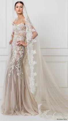 maison yeya 2017 bridal one side long sleeves heavily embroidered bodice elegant glamorous lace sheath wedding dress illusion lace back sweep train (3) mv