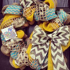 Burlap wreath with Turquoise//Yellow// Grey Chevron -  Chevrons Galore.. love this!